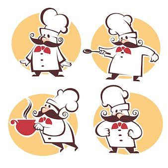 Cooking symbols, food and chef