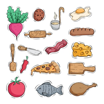 Cooking tasty food icons with colored doodle style