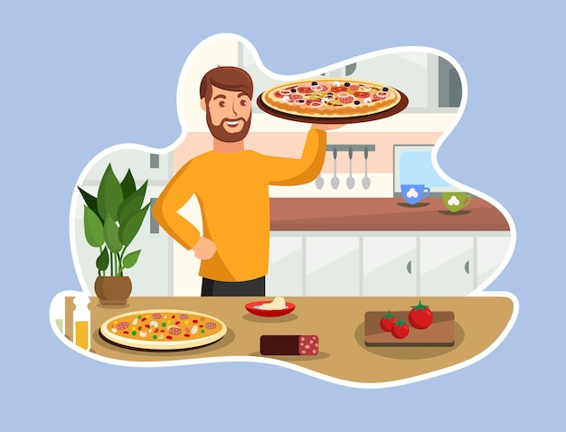 Cooking tasty pizza vector cartoon illustration