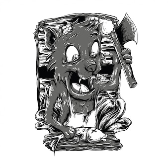 Cooking time black and white illustration
