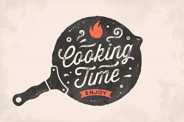 요리 시간. 주방 포스터. 주방 벽 장식, 기호, 견적
