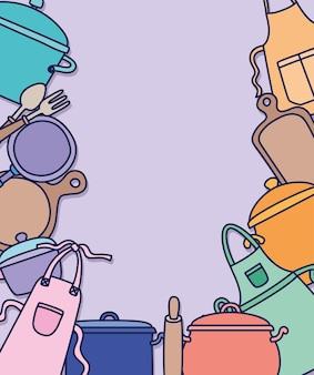 Иконки инструментов для приготовления пищи над фиолетовым
