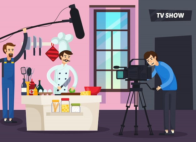 Cooking tv show orthogonal composition