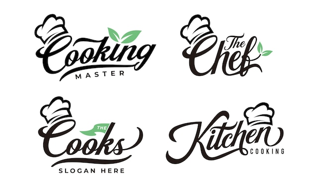 Cooking typography logo collections design template