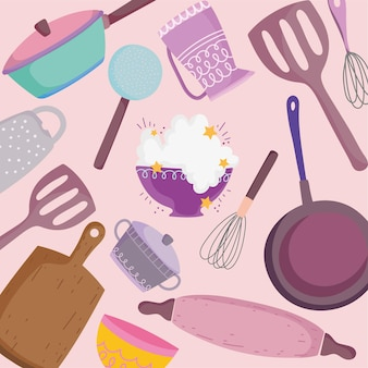 Кухонная утварь, столовые приборы, кухонная лопатка, скалка, горшок, кастрюля, фоновая иллюстрация