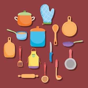 Дизайн коллекции иконок кухонная утварь