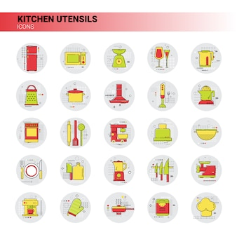 Cooking utensils kitchen equipment appliances set icon