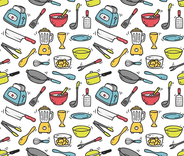 Cooking utensils seamless background