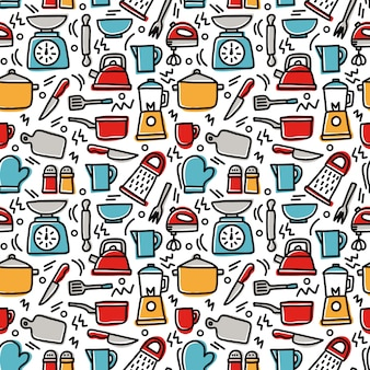 Cooking utility seamless pattern doodle
