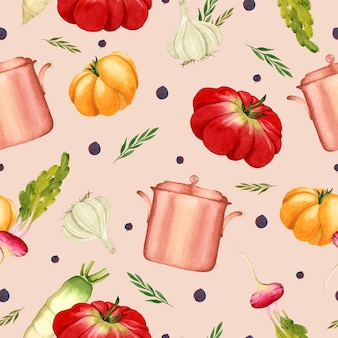 Cooking watercolor seamless pattern vegetables on pink background