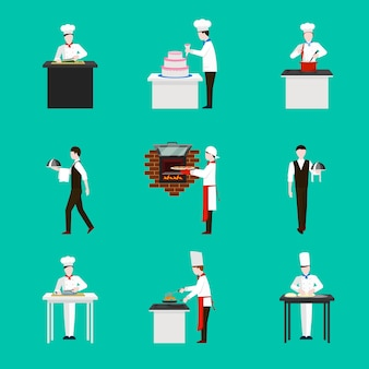 Cooking with chef figures  icons set. dinner in restaurant,  cake and kitchen