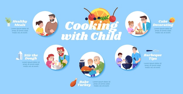 Cooking with child vector infographic template. healthy meals and barbecue tips ui web banner with flat characters. baking meat and cake. cartoon advertising flyer, leaflet, ppt info poster idea
