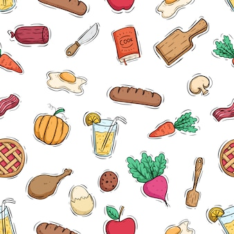 Cooking with healthy food in seamless pattern using colored doodle style