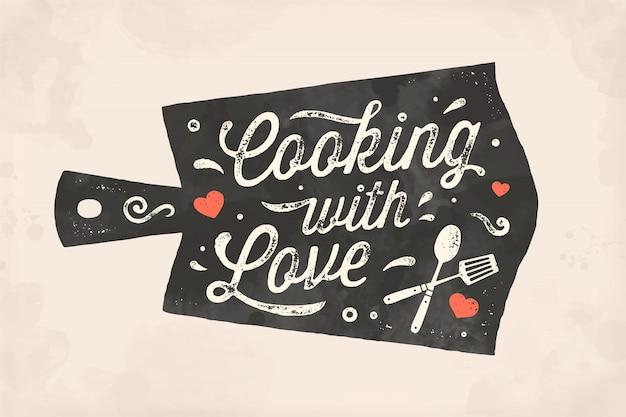 Готовим с любовью. кухонный плакат. декор стен кухни, вывеска, цитата