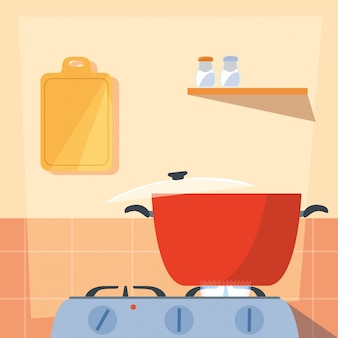 Cooking with pot of kitchen in stove