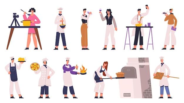料理人、シェフ、ソムリエ、料理評論家、フードブロガー。フードレビュー、レストランシェフ、ワインソムリエ、フードエキスパートのベクターイラストセット。キッチンで料理人のキャラクター、レストランで料理をする