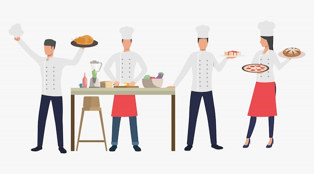 Cooks with dishes in restaurant kitchen