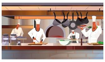 Cooks working at restaurant kitchen illustration