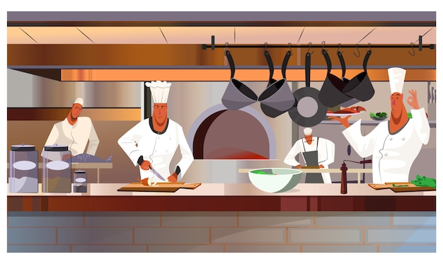 Cooks working at restaurant kitchen illustration