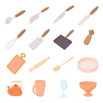 Cookware icons set in cartoon style