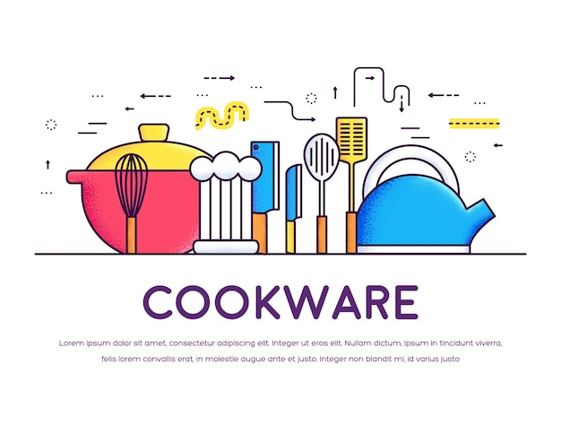 Cookware kitchen table for cooking in house. on flat in thin lines style . background concept.