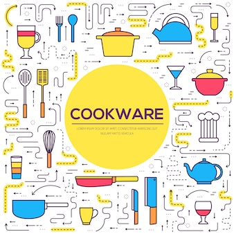 Cookware kitchen table for cooking in house  outline.