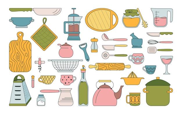 Набор кухонных принадлежностей для посуды. инструменты для выпечки мультяшная посуда, оборудование. ручной обращается коллекция кухонной утвари плоский стиль.