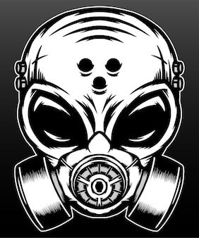 블랙에 고립 된 가스 마스크와 멋진 외계인
