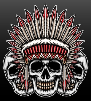 Cool american native skull isolated on black