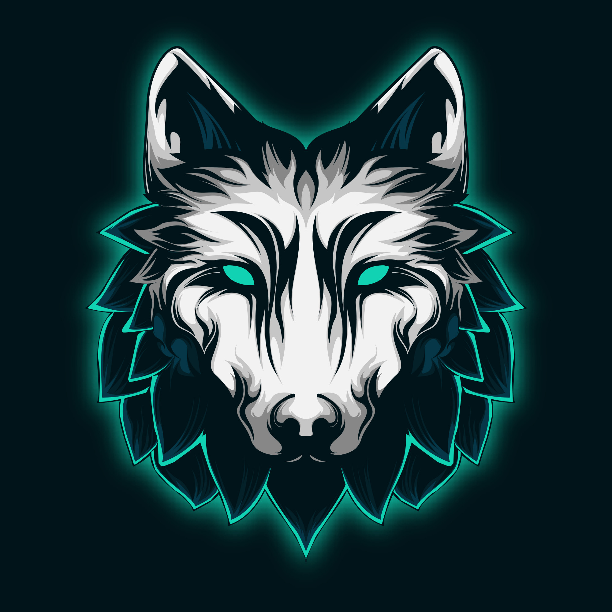 Cool and Majestic Mint Wolf