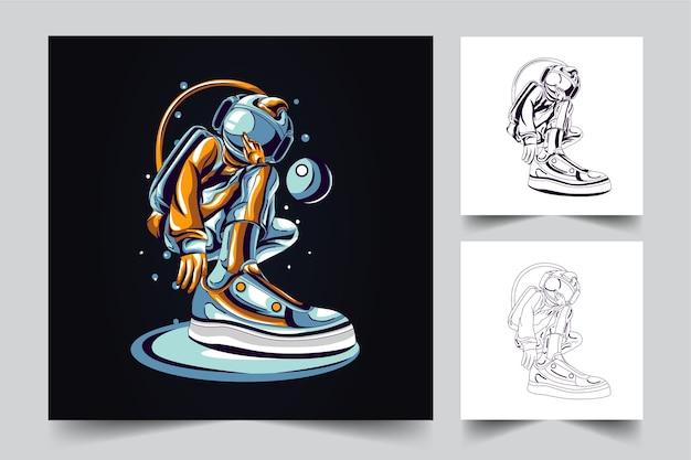 クールな宇宙飛行士のマスコットロゴ