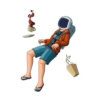 コーヒーとポップコーンでクールな宇宙飛行士