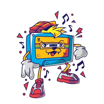 Cool audio tape cassette character