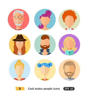 Cool avatars flat icons different clothes, tones and hair styles modern flat cartoon