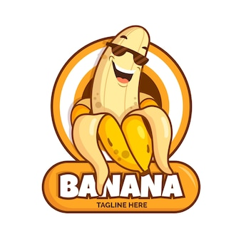 Cool banana character logo template