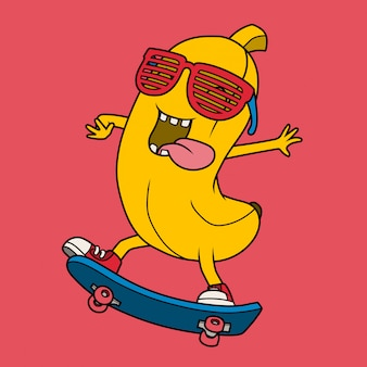 Cool banana playing skateboard.