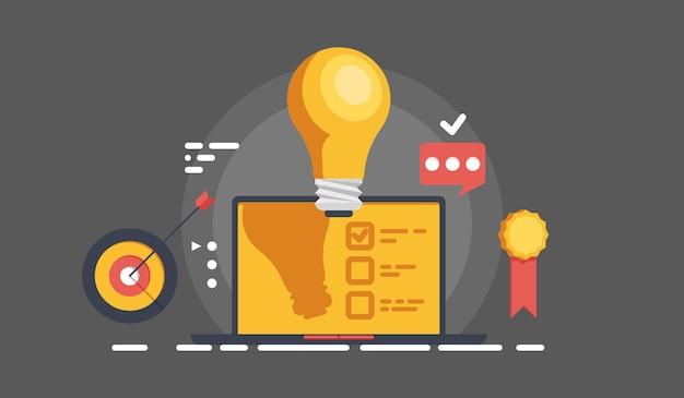 Прохладный баннер онлайн-управления бизнесом и управления задачами, полная цель