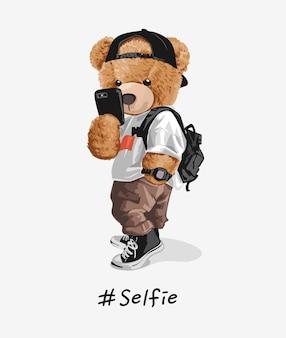 自撮りイラストを撮るクールなクマのおもちゃ Premiumベクター