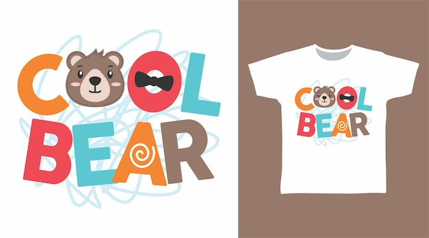 クールなクマのタイポグラフィtシャツのデザイン