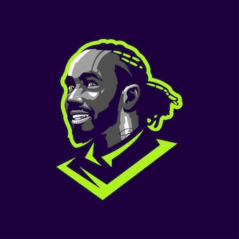 Крутая борода голова логотип для редактирования