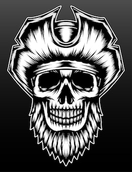 Cool bearded skull pirate isolated on black