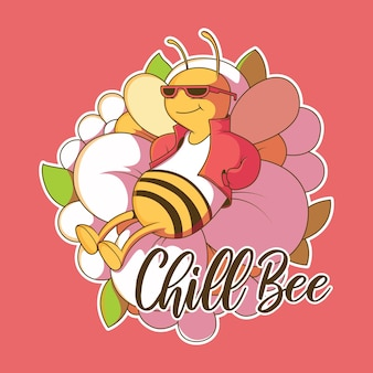 Cool bee character vector illustration nature imagination style design concept