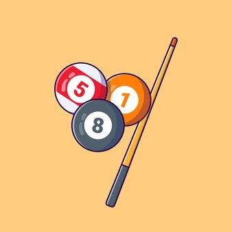 Прохладный бильярдный шар с клюшкой вектор плоской иллюстрации