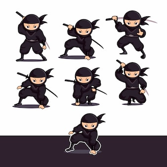 Cool black ninja cartoon using sword ready to attack