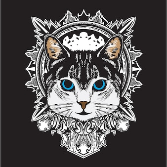 Cool black white cat flower mandala illustration