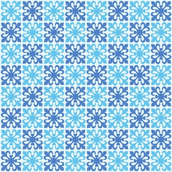 Cool blue flower background pattern with square tile texture