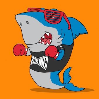 Крутая акула-боксер, векторный дизайн.