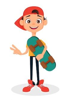 Cool boy in cap holding skateboard