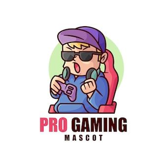 Классный мальчик в черных очках играет логотип видео игры