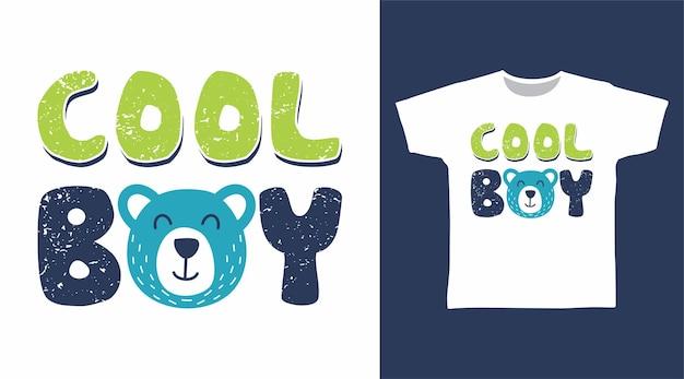 Tシャツのデザインのためのクマの頭のタイポグラフィとクールな男の子